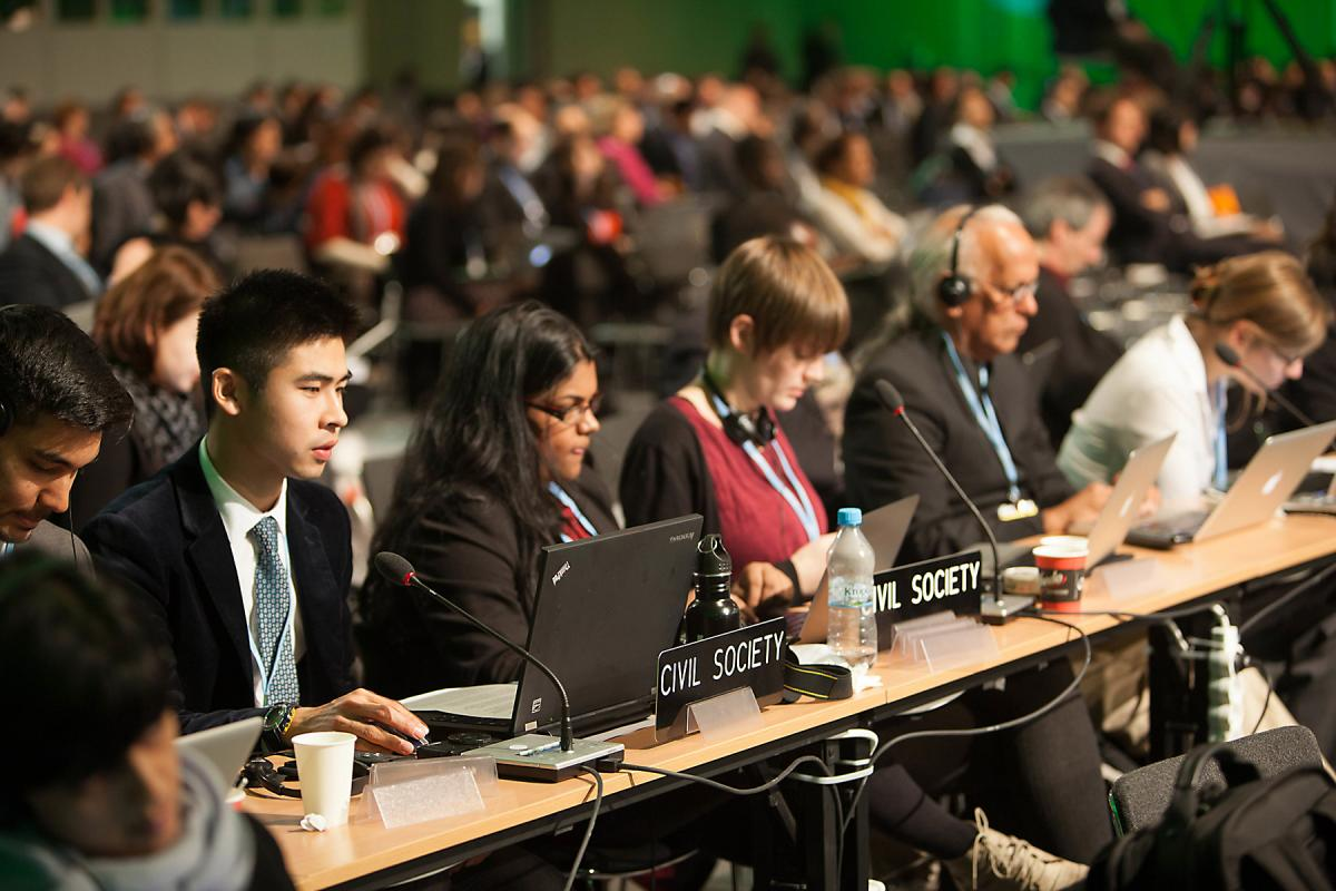 Many of the 15,000+ participants at the UN climate change conference are civil society. Photo: Sean Hawkey