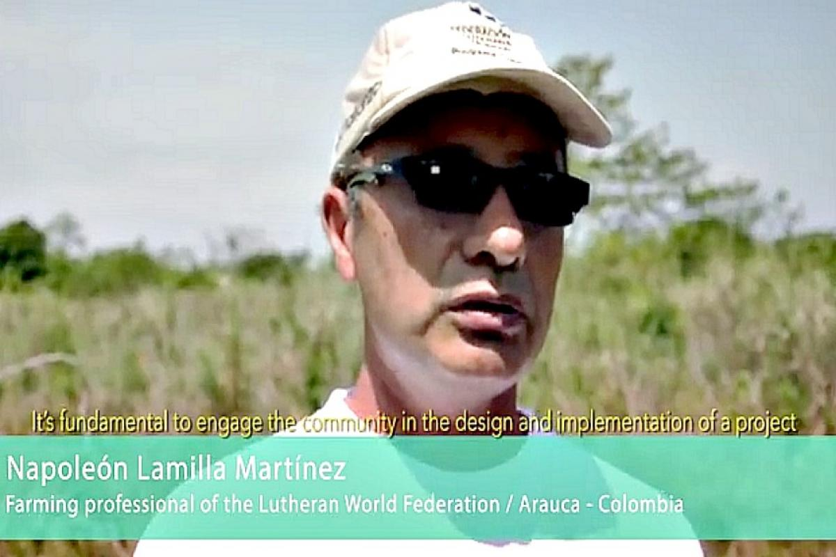 Farming professional discusses the importance of working with communities in designing projects.  Photo:  LWF Columbia