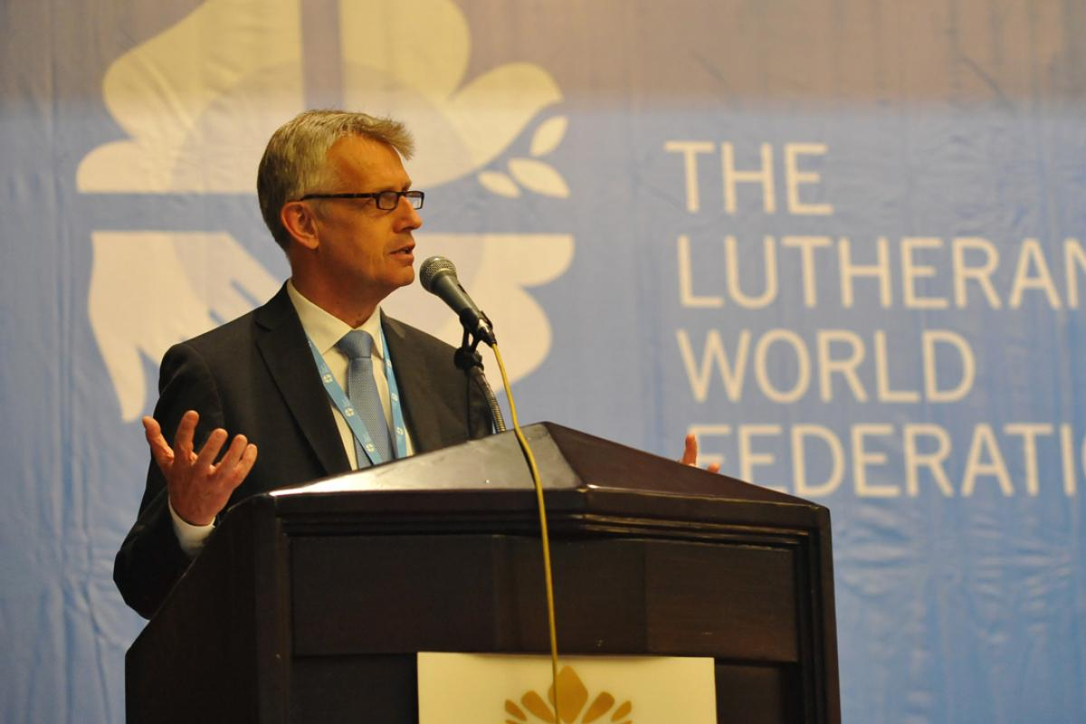 LWF General Secretary Martin Junge presents his report to Council 2014 meeting in Medan, Indonesia, 12-17 June. Photo: LWF/M. Renaux