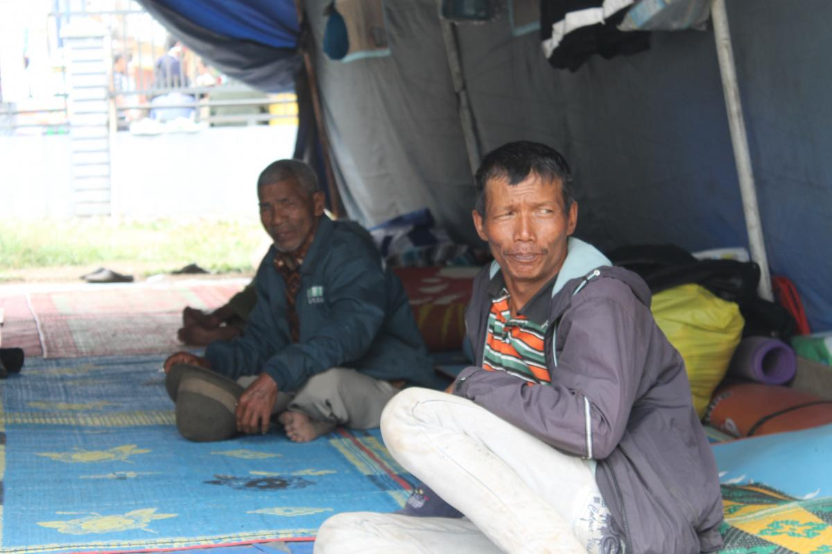 Displaced Karo land inhabitants at the Kabanjahe evacuation center in North Sumatra. Photo: HKBP/Fernando Sihotang