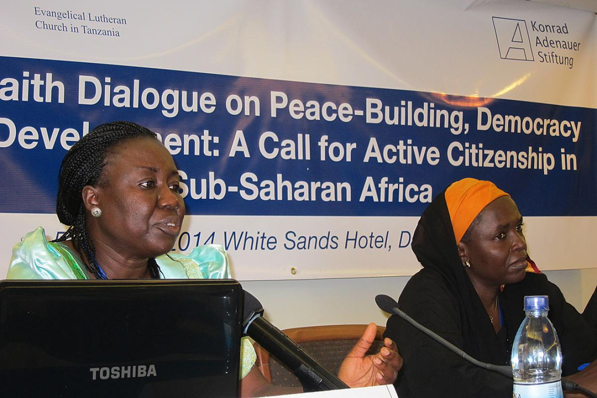 (left to right) Dialogue participants Helen Haggai and Amina Ahmed. Photo: LWF/I. Benesch