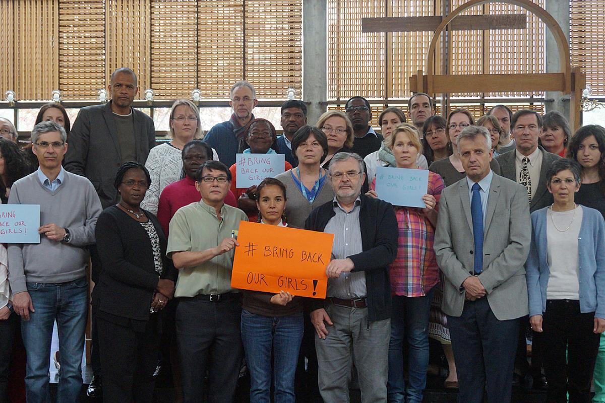 "LWF Communion Office staff says ""Bring Back Our Girls!"" Photo: LWF/C. Kästner"