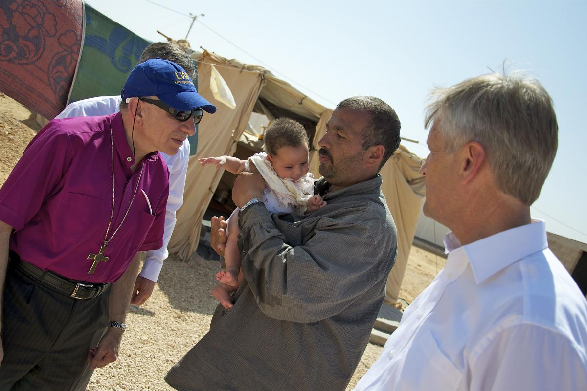 The LWF President and General Secretary visit Za'atri residents in 2012. Photo: LWF/Thomas Ekelund
