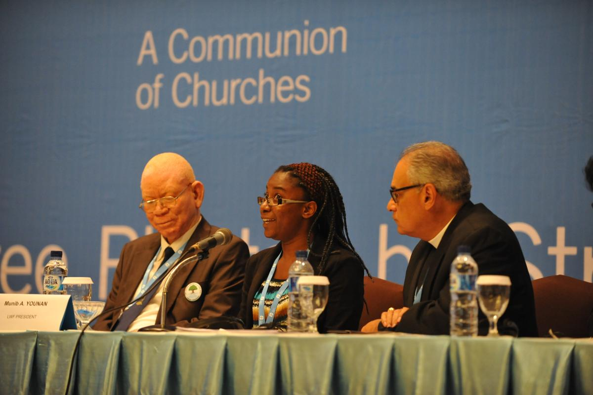 Danielle Dokman, Evangelical Lutheran Church in Suriname, speaks during the session on youth participation and intergenerational sharing at the 2014 LWF Council meeting. Photo: LWF/M. Renaux