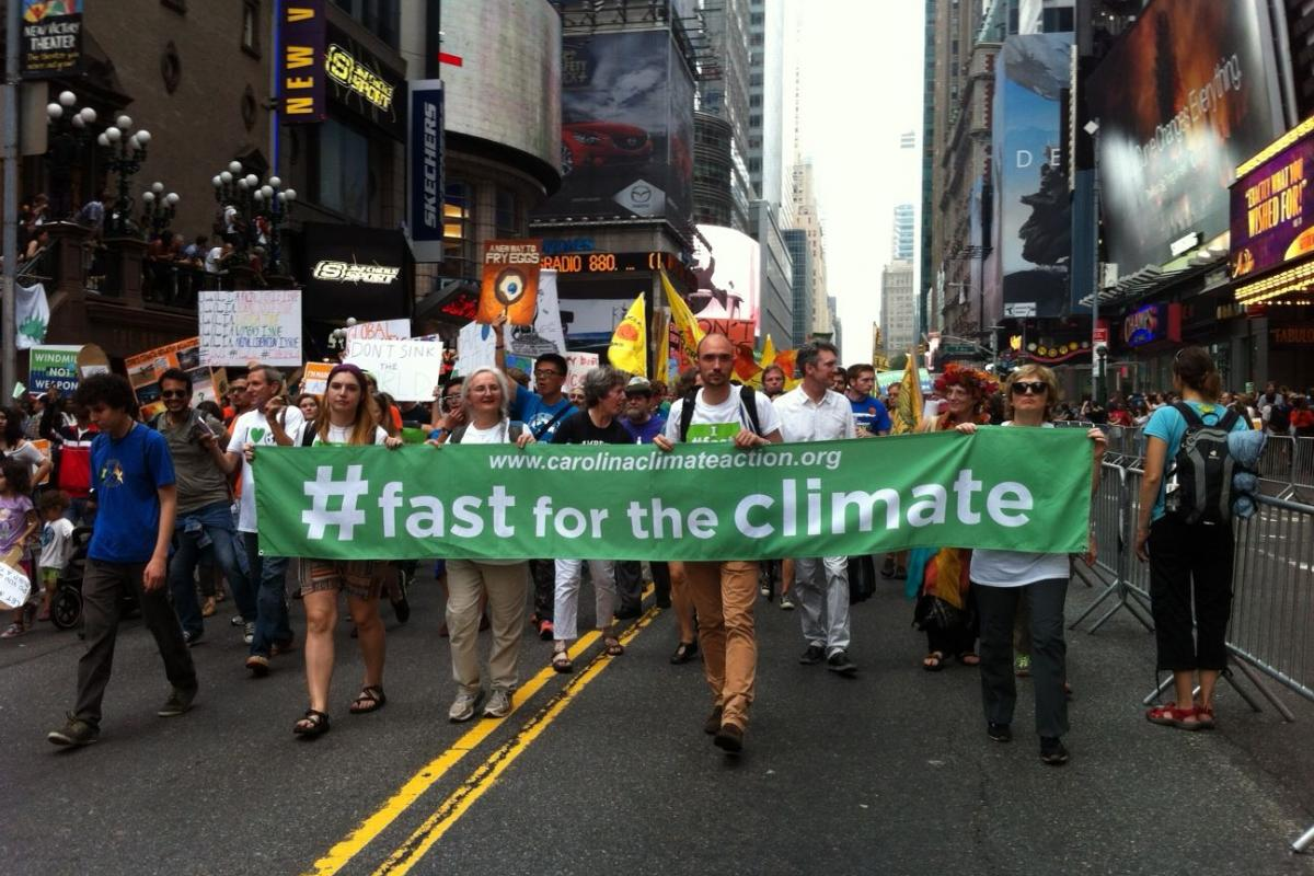 "The LWF delegation to the New York Climate events participated in the ""Largest Climate March"" in history, held 21 September, in New York City. Photo: #Fast for the Climate: Nikola Taylor"