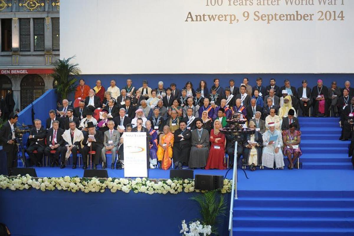 "The final ceremony of the 2014 Sant' Egidio ""People and Religions"" meeting in Antwerp, Belgium. Photo: Sant' Egidio"