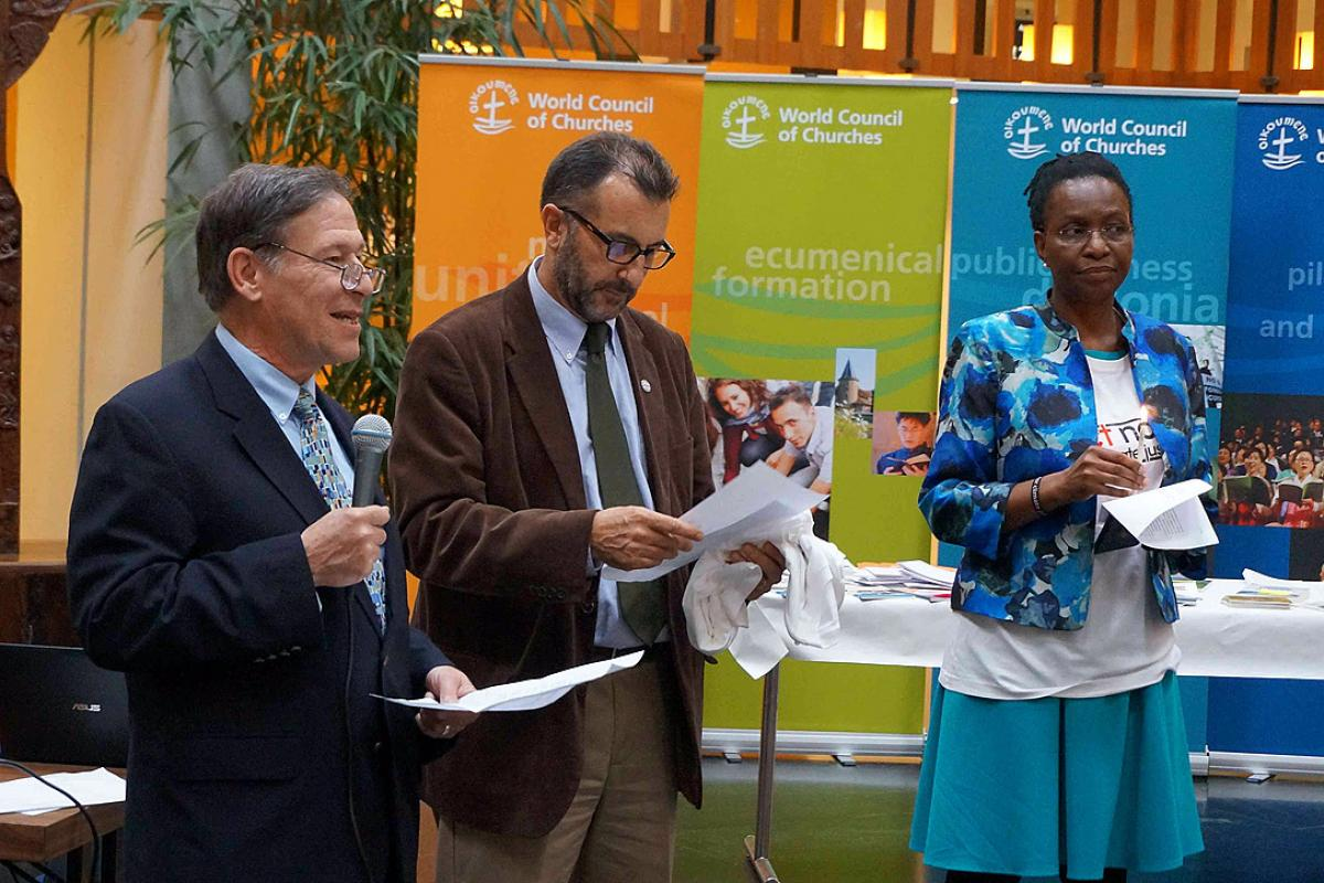"""LWF Assistant General Secretary Mr Ralston Deffenbaugh (left) speaks at the Ecumenical Center launch of the """"Act Now for Climate Justice"""" campaign on Earth Day. Photo: LWF/S. Gallay"""