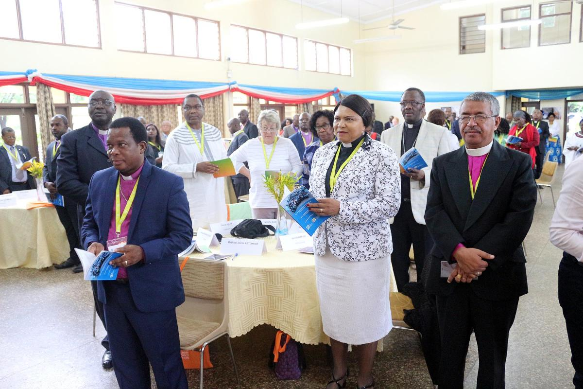 A group of participants during the opening worship of the Africa Lutheran Church Leadership Consultation, hosted by the Evangelical Lutheran Church in Tanzania, 13-17 May, in Moshi, Tanzania. All photos: LWF/ALCINET