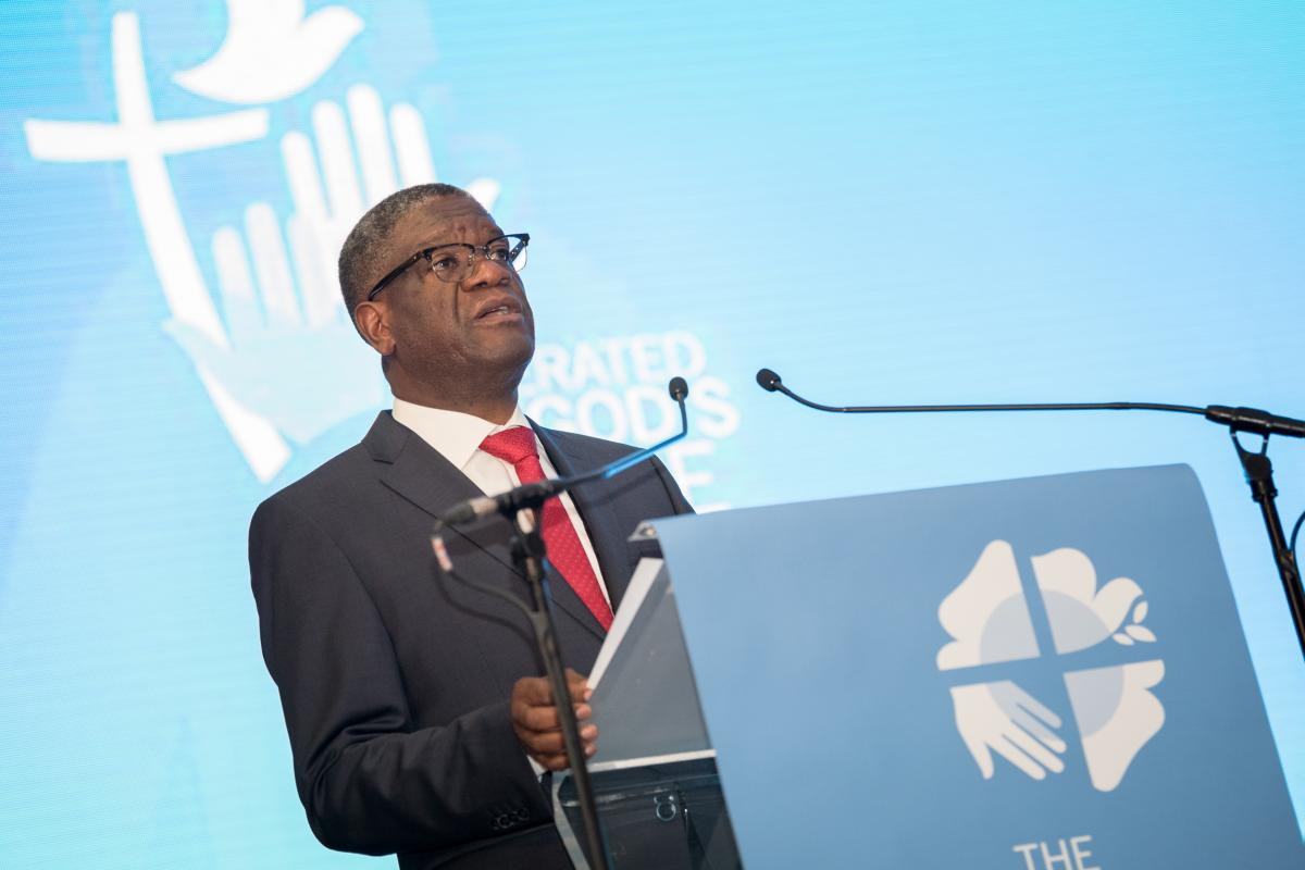 Keynote speech at the LWF Twelfth Assembly by Congolese surgeon Dr Denis Mukwege. Photo: LWF/Albin Hillert