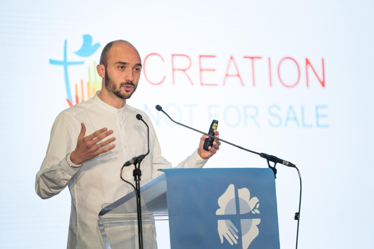 "Martin Kopp speaks at the thematic plenary on ""Creation - Not for Sale"" at the Twelfth Assembly of the Lutheran World Federation. Photo: LWF/Albin Hillert"
