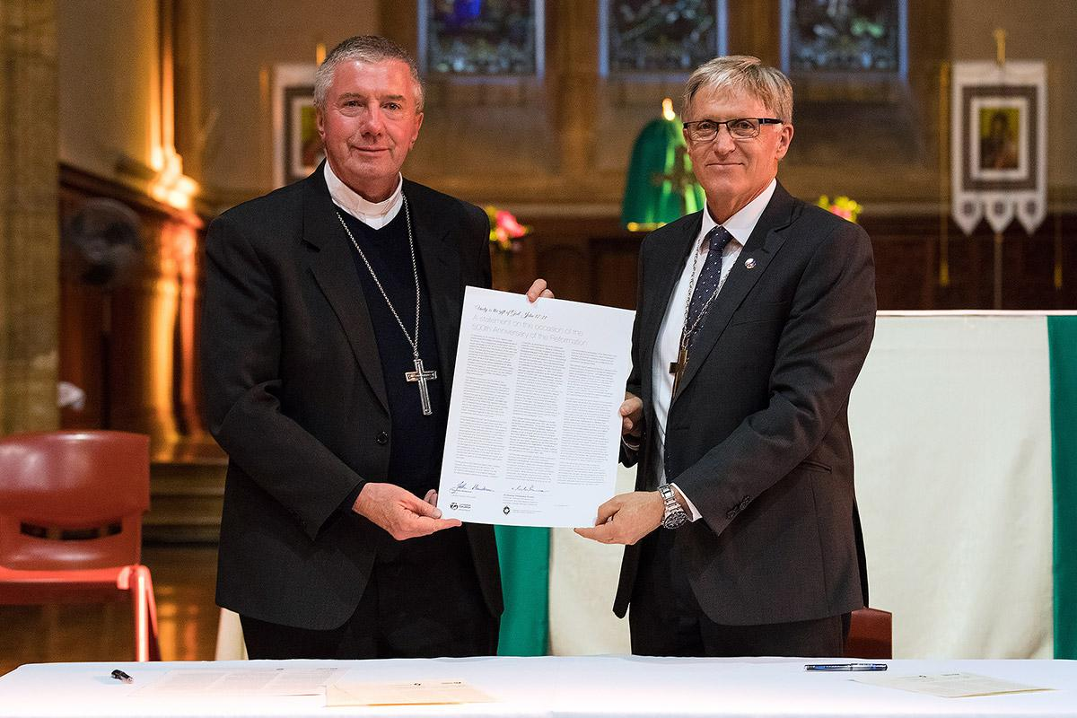 Archbishop Christopher Prowse of the Australian Catholic Bishops Conference and LCA Bishop John Henderson have signed a joint statement issued to mark the 500th anniversary of the Reformation. Photo: Ben Macmahon