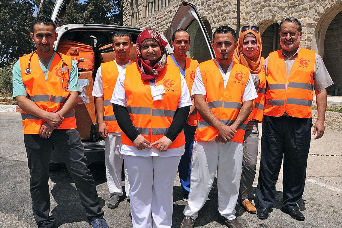 Augusta Victoria Hospital staff before entering Gaza at the time of the 2014 conflict. The LWF Council has condemned the continued violence in the region. Photo: LWF Jerusalem