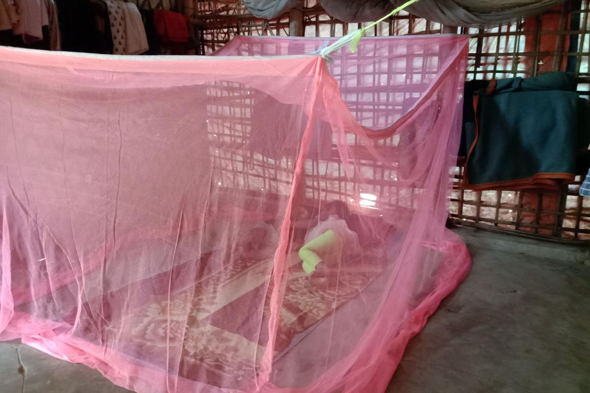 LWF distributed mosquito nets to more than 12,000 households in two camps in Cox''s Bazaar refugee camp. The nets will protect especially small children against diseases such as Dengue fever and Malaria. Photo: Bela Wadud/ RDRS/LREP