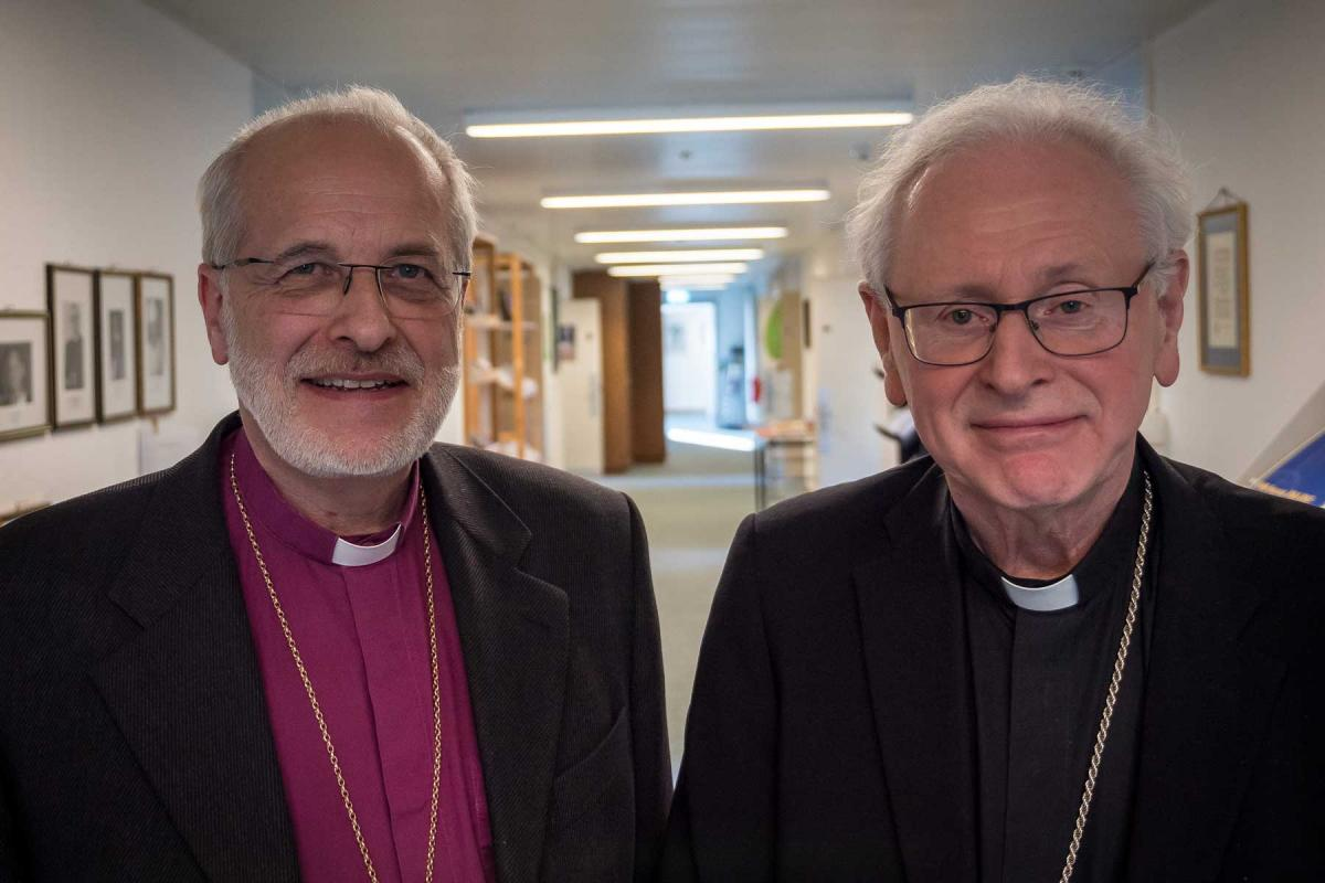 Simo Peura, Lutheran bishop, of Lapua, and Teemu Sippo, Catholic bishop of Helsinki, (from left). Photo: LWF/ S. Gallay