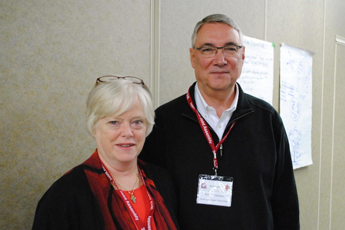 PWRDF director Adele Finney and CLWR director Robert Granke at Canada's National Church Council. Photo: André Forget