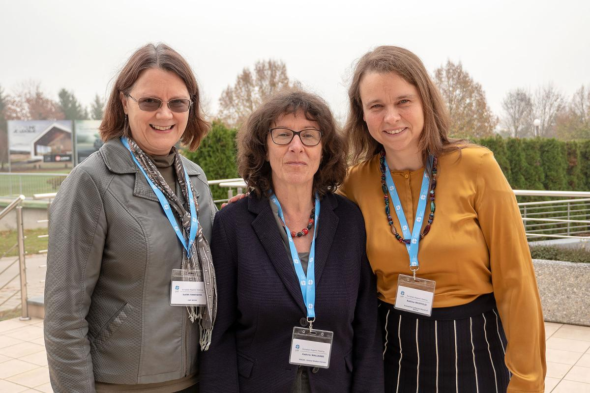 (From left) Judith VanOsdol, LWF program executive for gender justice and women's empowerment; Kathrin Wallrabe, ELCS equal opportunities officer and WICAS regional coordinator for Central Western Europe; Bettina Westfeld, LWF Council member and vice-president of the ELCS synod. Photo: LWF/A. Danielsson