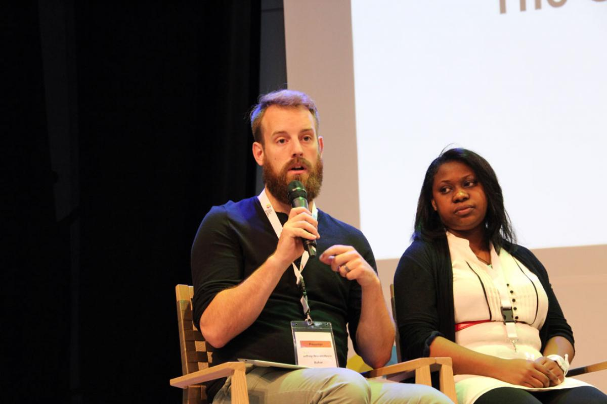 Jeff Buhse and Tsiry Rakoto, of the LWF climate justice working group, tell young Lutherans in Wittenbergy that they need to support political commitment to a reasonable climate change agreement at the COP21 conference in Paris later this year. Photo: GNC/LWF/F. Hübner