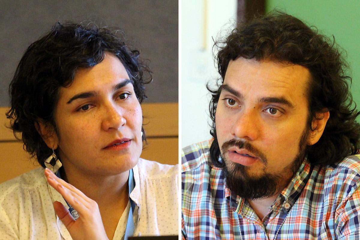 Ms Ana Maria Rodriguez (left), representing the Colombian Commission of Jurists, and Mr Gabriel Urbano, deputy director of the Corporación de Dessarrollo Solidario de Montes de Maria in Colombia. Photo: LWF/John Zarocostas