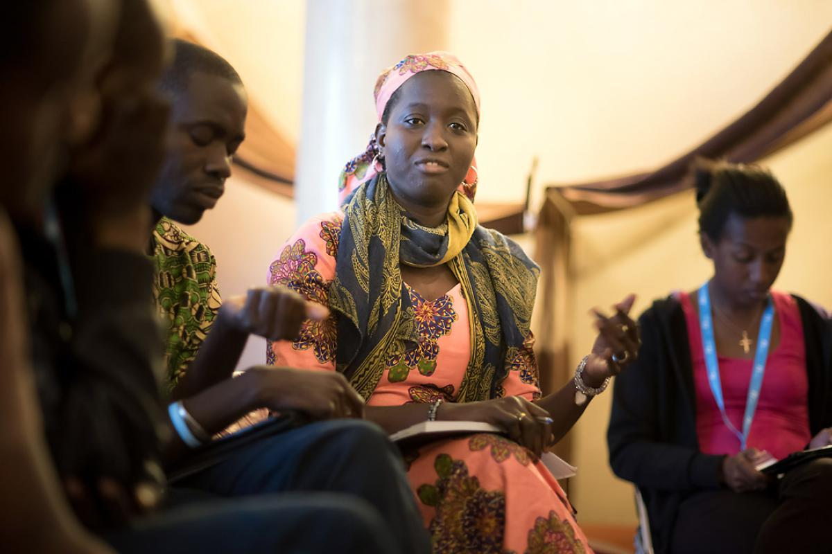 Mari Oumar Sall, LWF country program in Mauritania, describing efforts to combat desertification and care for refugees, at a side event of COP 22 in Marrakech, Morocco Photo: LWF/Ryan Rodrick Beiler