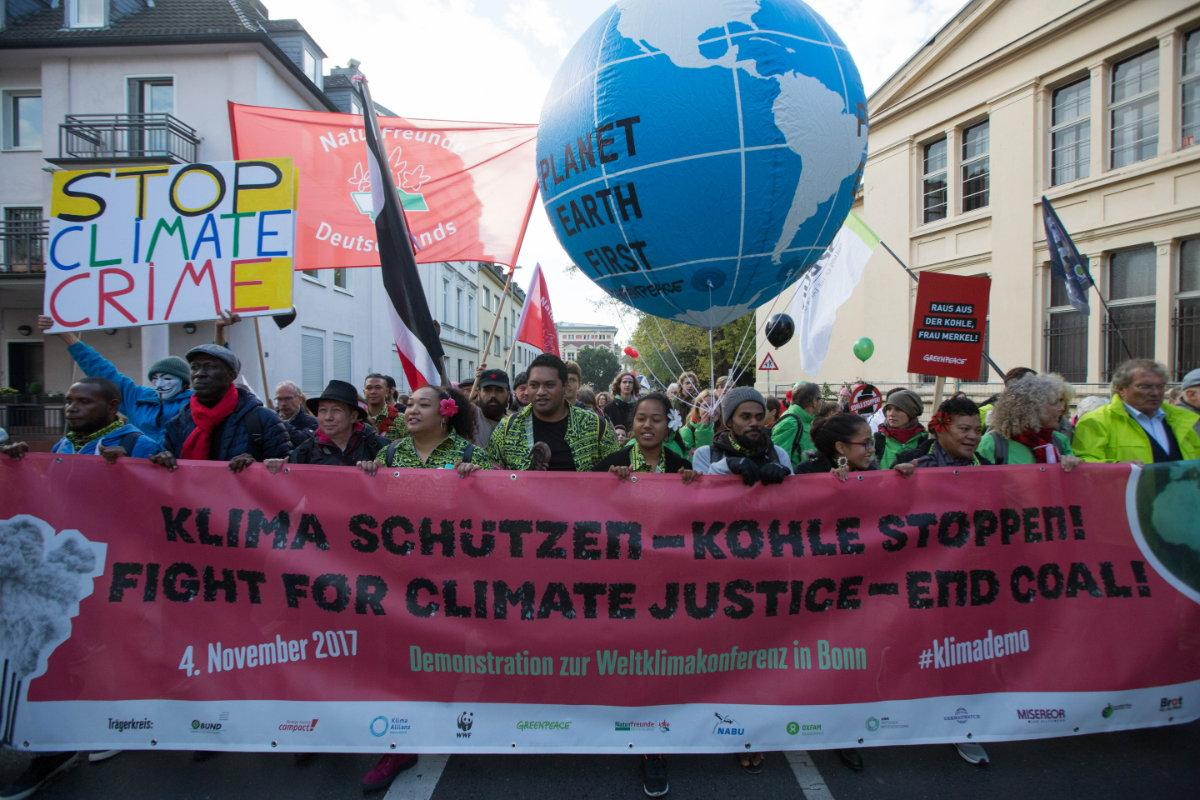 Thousands of climate activists from across the world took to the streets of Bonn just before the start of the UN climate conference COP23. Photo: WCC/Sean Hawkey