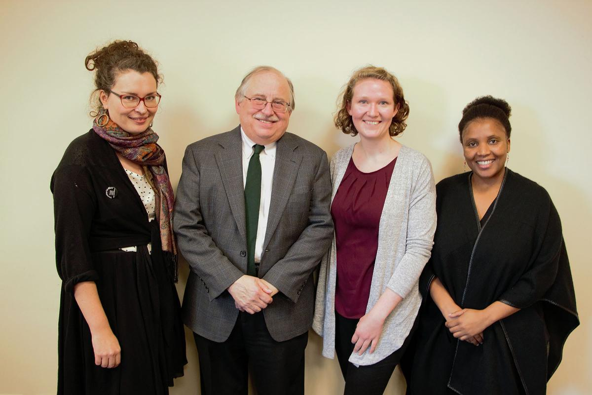 Visiting the Lutheran office in New York, Helena Funk (third from left) received valuable tips on climate advocacy from Rebekka Pohlmann, Germany; Dennis Frado, LWF's representative at the UN headquarters; and Christine Mangale, LOWC program director. Photo: Doug Hostetter
