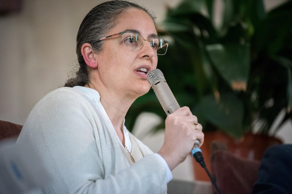 Marta Matarín speaks at the interfaith panel.
