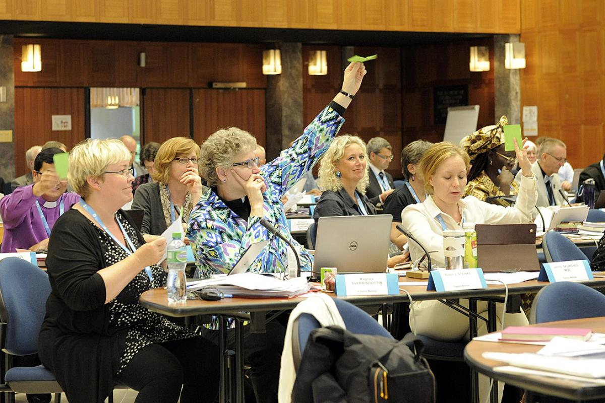 Members of the 2015 Council approve two key positions in the LWF Communion Office. Photo: LWF/Helen Putsman
