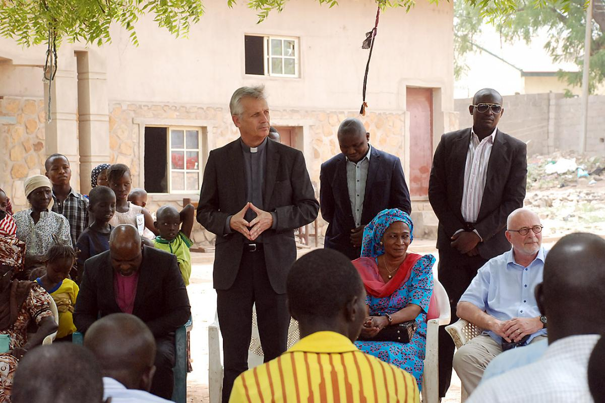 The LWF Council expressed appreciation to the General Secretary Rev. Dr Martin Junge for his solidarity visit to northern Nigeria in March this year. The LWF delegation included LCCN's Titi Malik (seated to Junge's left). Photo: Jfaden Multimedia