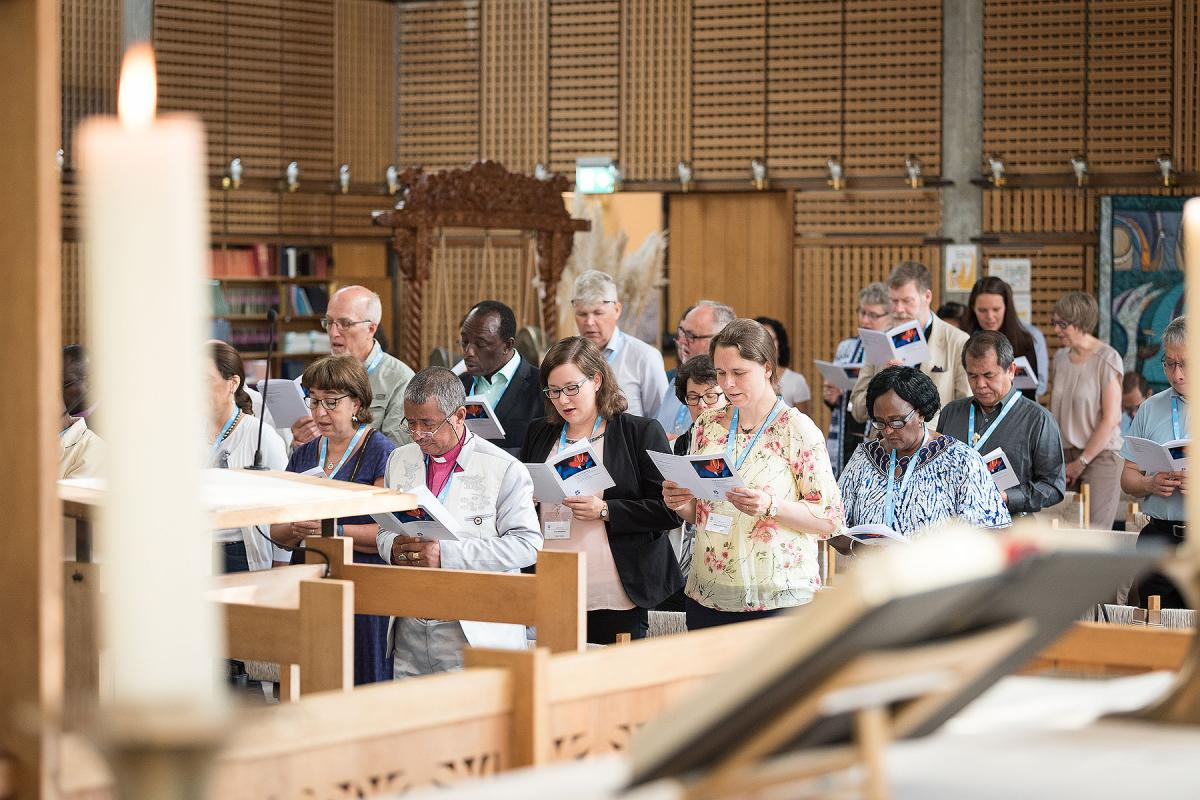 LWF Council members in the Ecumenical Center Chapel, during the opening worship service of the 2018 meeting. Photo: LWF/Albin Hillert