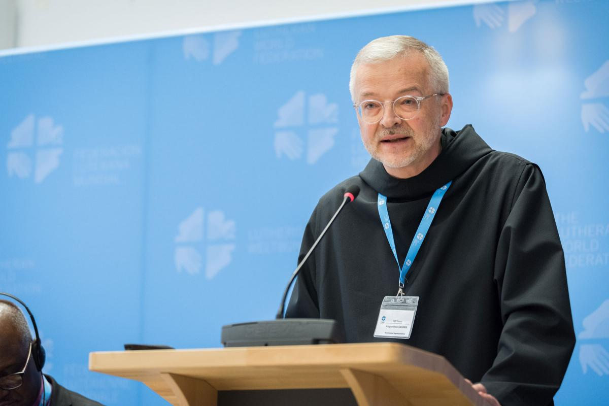 The LWF Council received greetings from its ecumenical partner representatives including Father Augustinus Sander of the Pontifical Council for Promoting Christian Unity. LWF/Albin Hillert