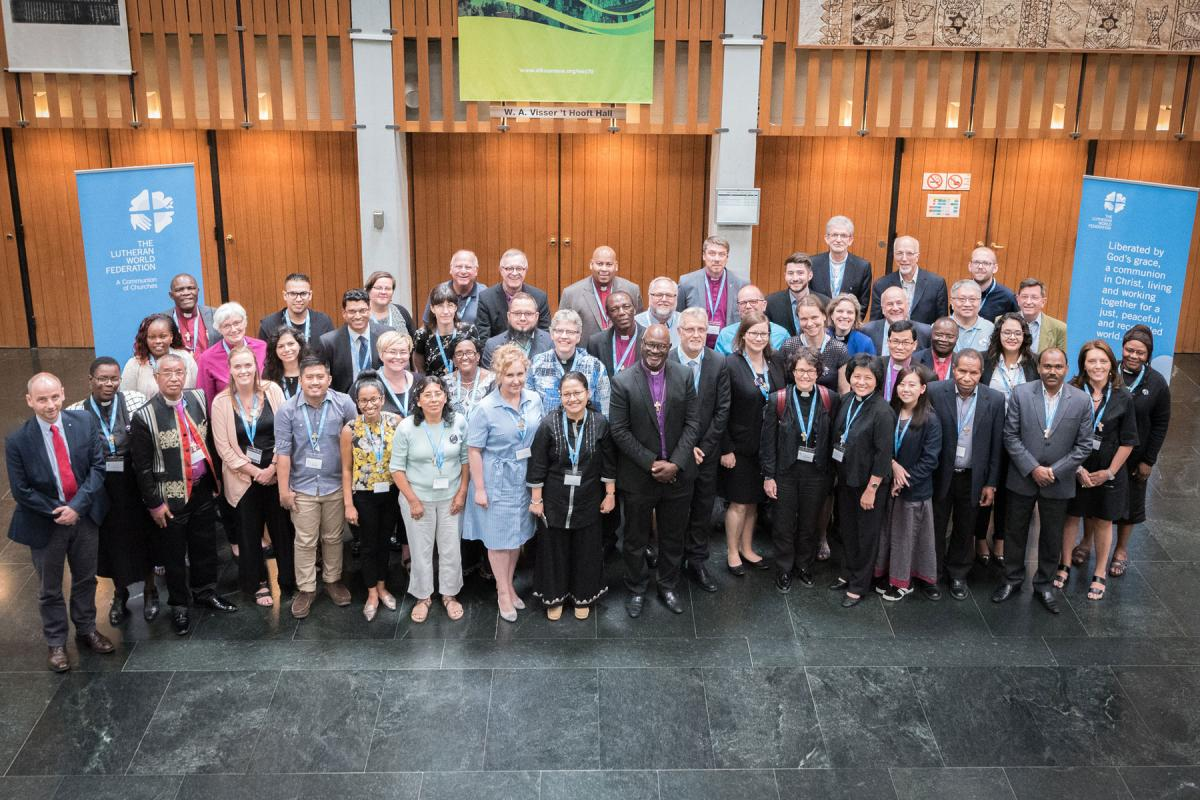 The LWF Council members. The President, the Chairperson of the Finance Committee, and 48 members from LWF member churches in seven regions. 28 June 2018, Geneva, Switzerland. Photo: Albin Hillert/LWF