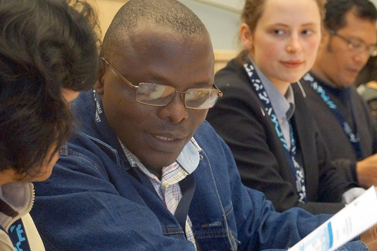 Cameroonian theologian Rev. Dr Samuel Dawai speaks at the fourth LWF Bible interpretation conference, hosted by Aarhus University in Denmark. Photo: LWF/I. Benesch
