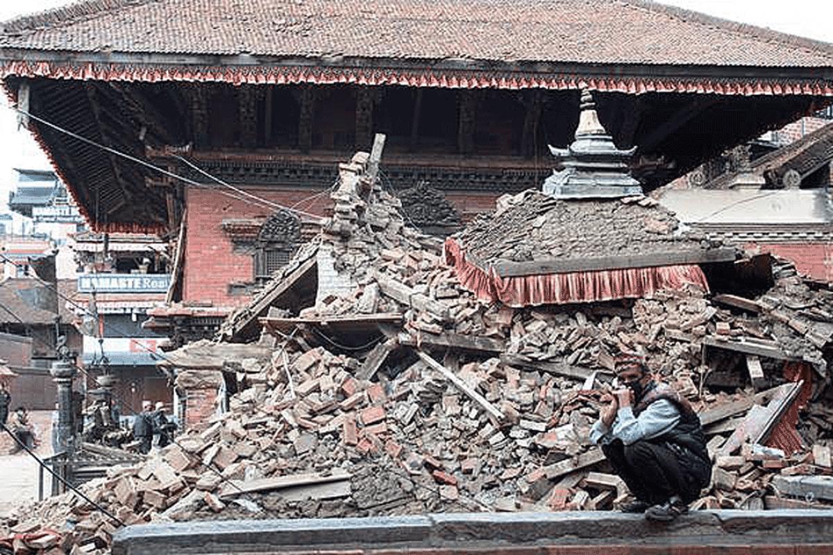 Earthquake destruction in Durbar Square in Bhaktapur, Nepal. Photo: LWF/C. Kästner