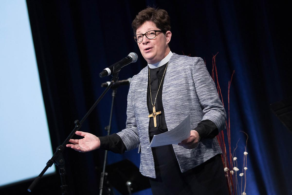 ELCA Presiding Bishop Elizabeth A. Eaton, addressing the Churchwide Assembly in New Orleans: Photo: ELCA