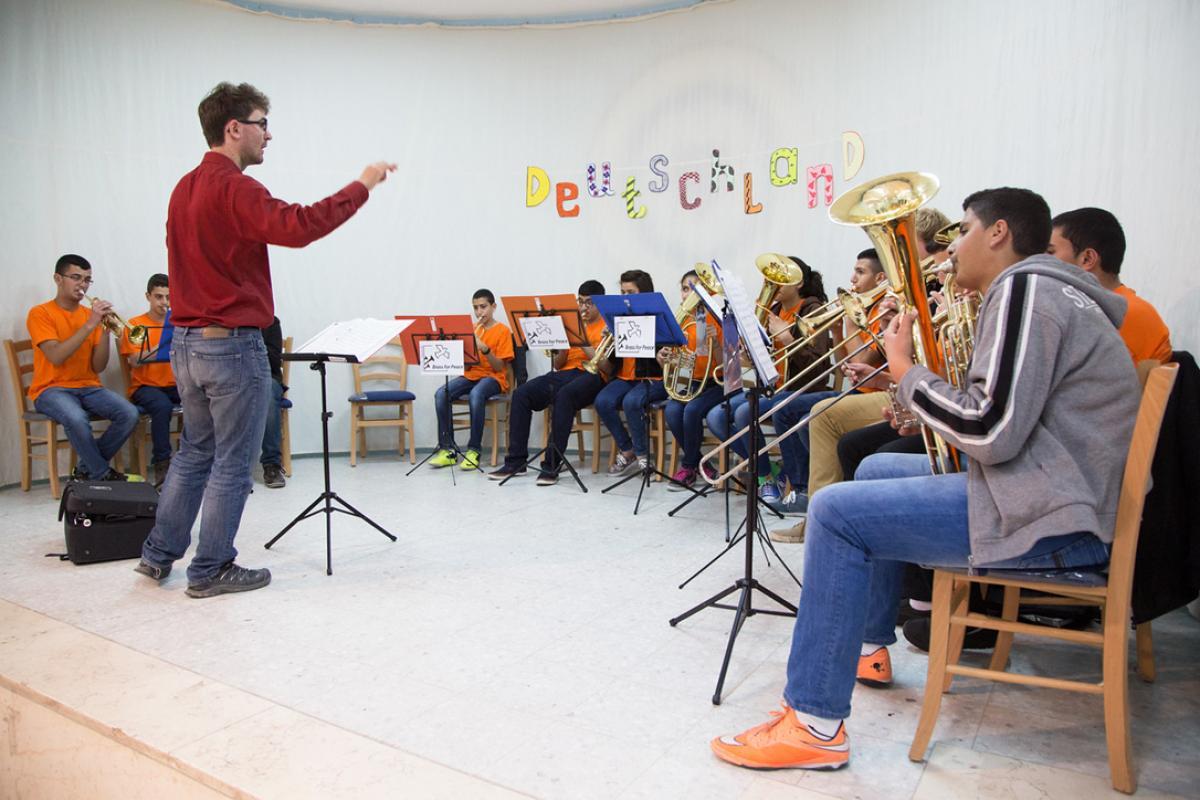 Brass for Peace make music at the ELCJHL School of Hope, Ramallah. Photo: ELCJHL