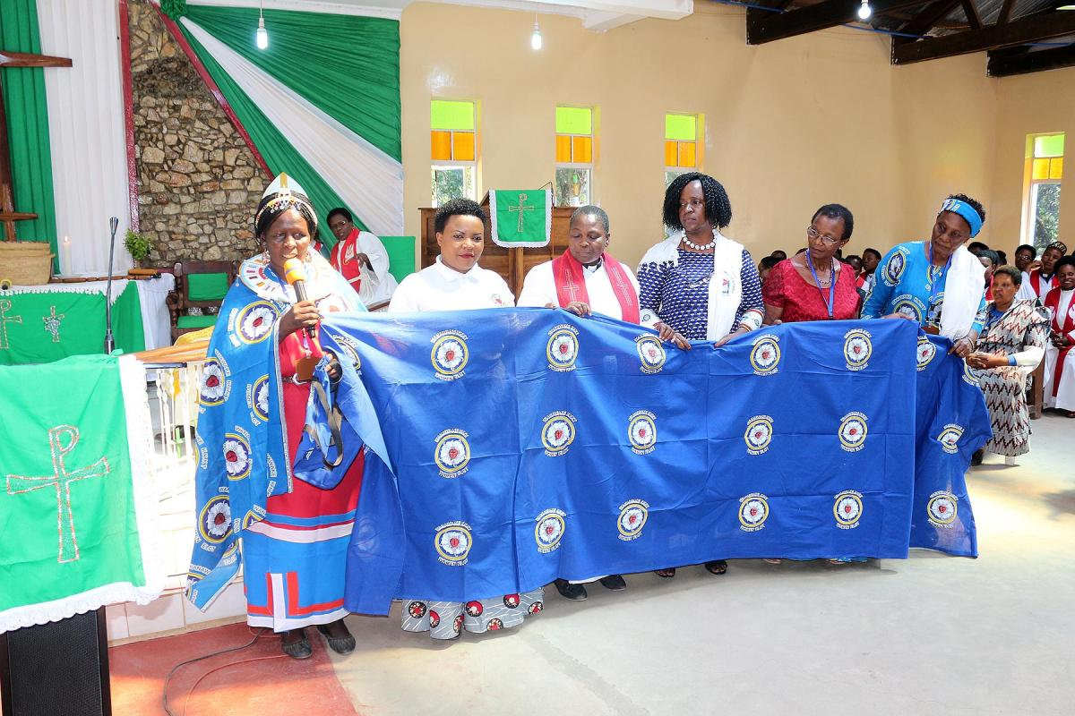 Members of the Executive Committee of the ELCT Women's Department display their national banner. All Photos: ELCT Communication/Evans Ayo