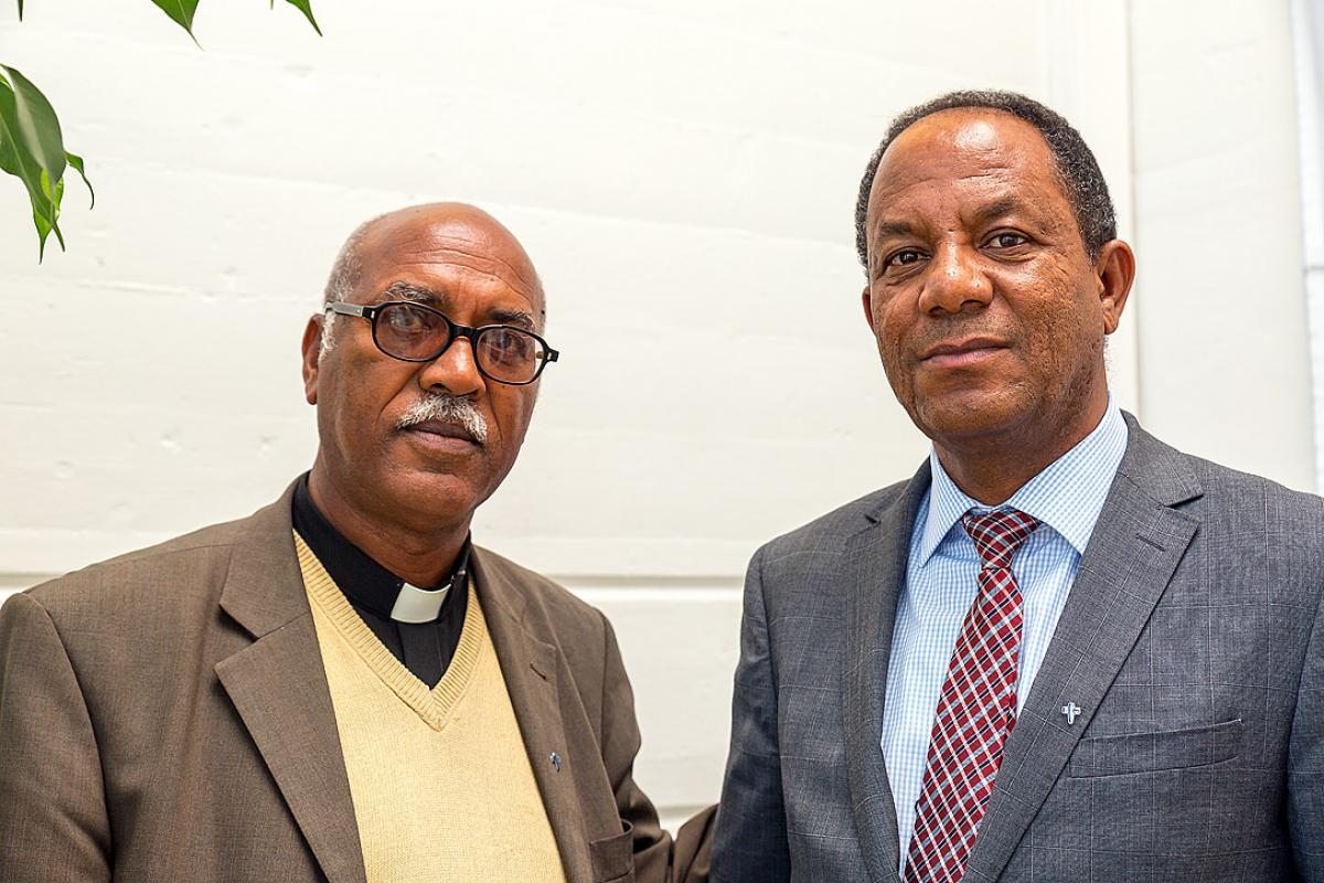 Evangelical Lutheran Church of Eritrea vice president, Rev. Habtom Tewolde, and General Secretary, Temesghen Berhane, visited Geneva to discuss Reformation celebrations. Photo: LWF/S. Gallay