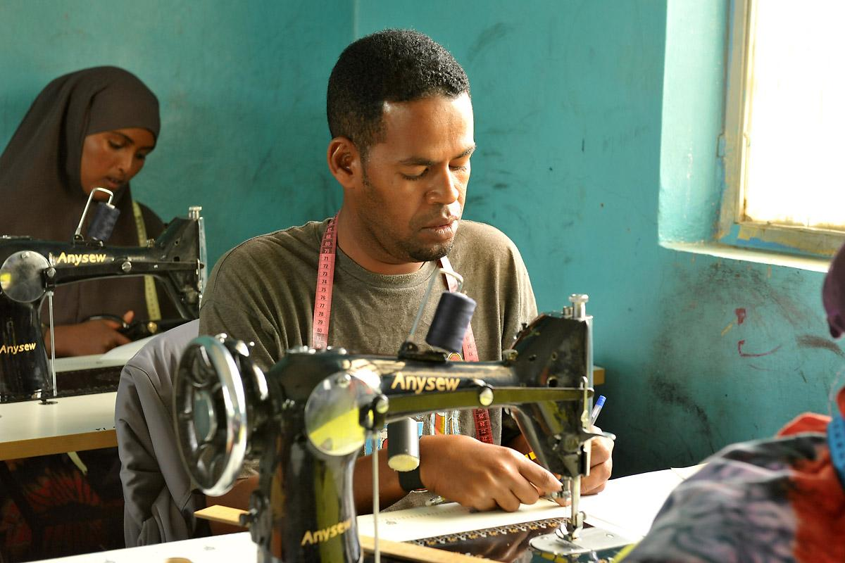 Fahd Mahmud Mohamed is the only male participant in his tailoring class. Photo: LWF/C. Kästner