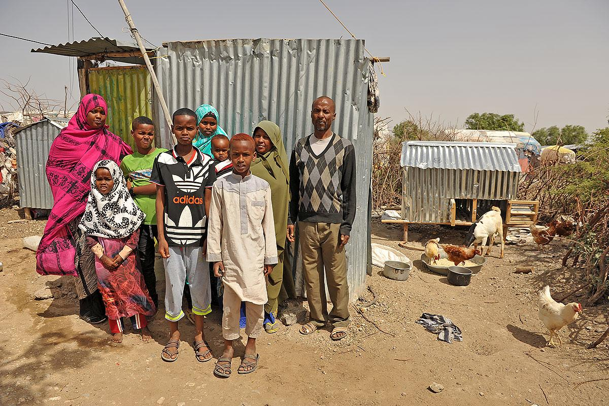 Yusuf Mohamed Ali, 42, and his family. He came as a refugee from Bey Dedawa, Somalia in 2007. Four of his nine children have been born in the camp. LWF supported him with chicken so he could start poultry production. Photo: LWF/ C. Kästner