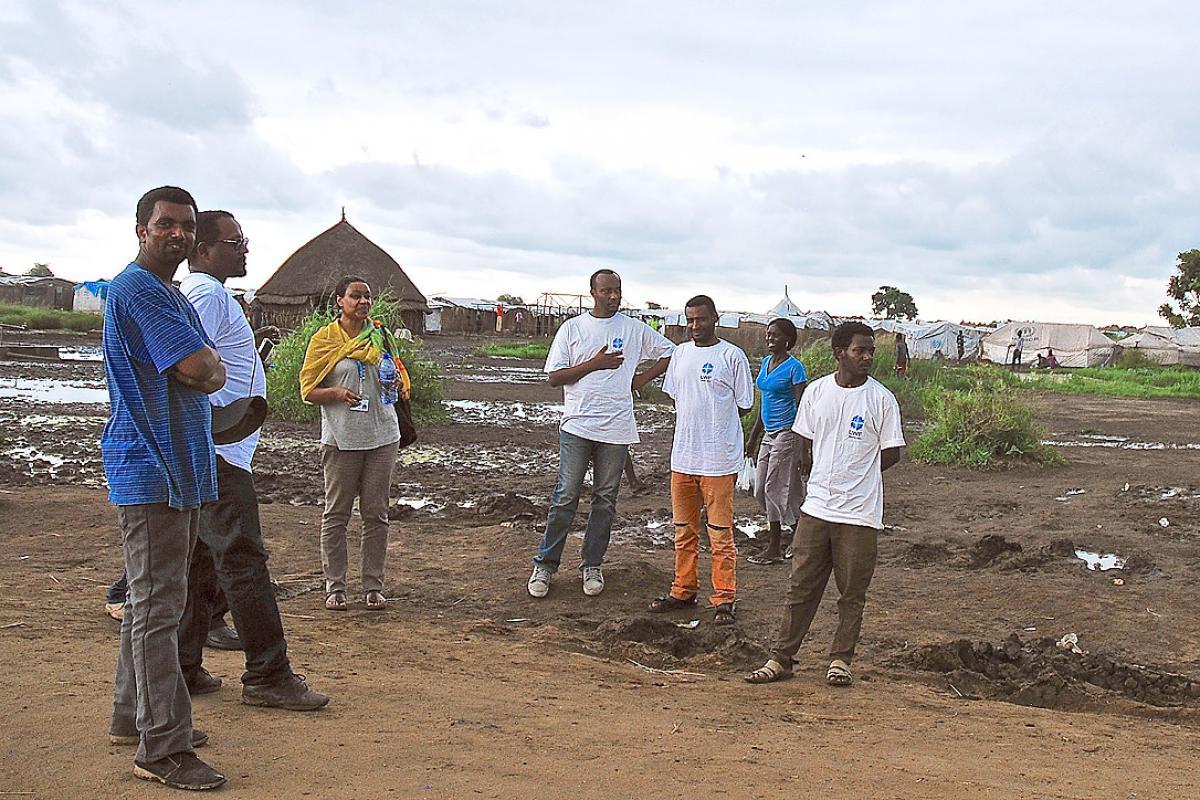 LWF team in the Gambella, Ethiopia, refugee camp. Photo: LWF/DWS Ethiopia