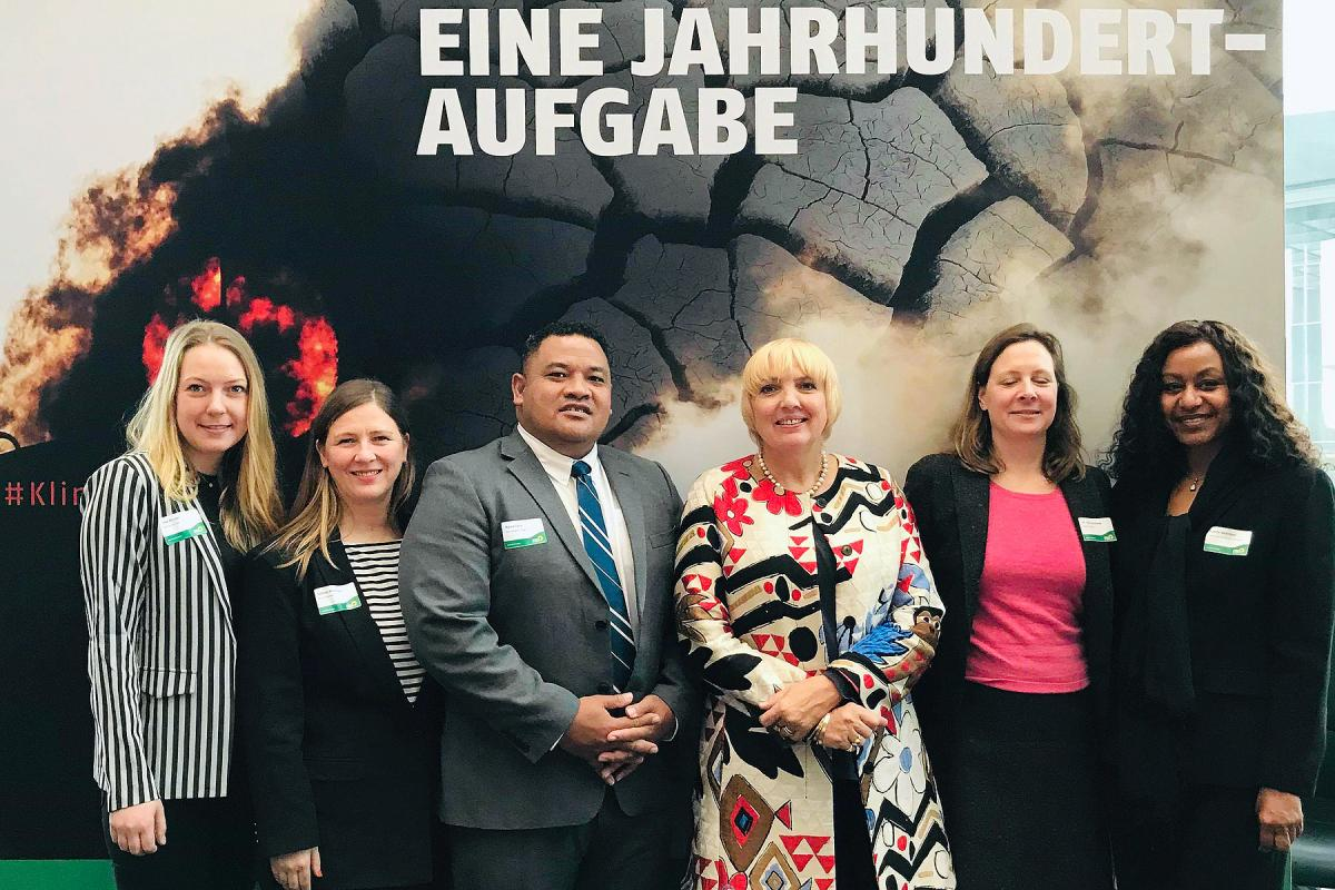 Panelists at the 27 March event in the Bundestag. From left to right: Lisa Binder (Bread for the World), Sabine Minninger (Policy Advisor on Climate Change, Bread for the World), Maina Talia (Panelist from Tuvalu), Claudia Roth (German Green Party politician and Bundestag Vice President), Dr. Julia Duchrow (Human Rights Expert, Bread for the World), Sophie Gebreyes (LWF Country Representative in Ethiopia). Photo: Sabine Mininger/BftW