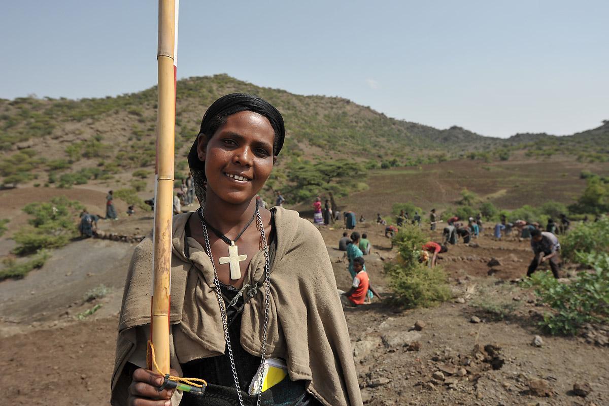 Ms Birzegen Yiman on the conservation site at Lalibela, Ethiopia. Photo: LWF/C. Kästner