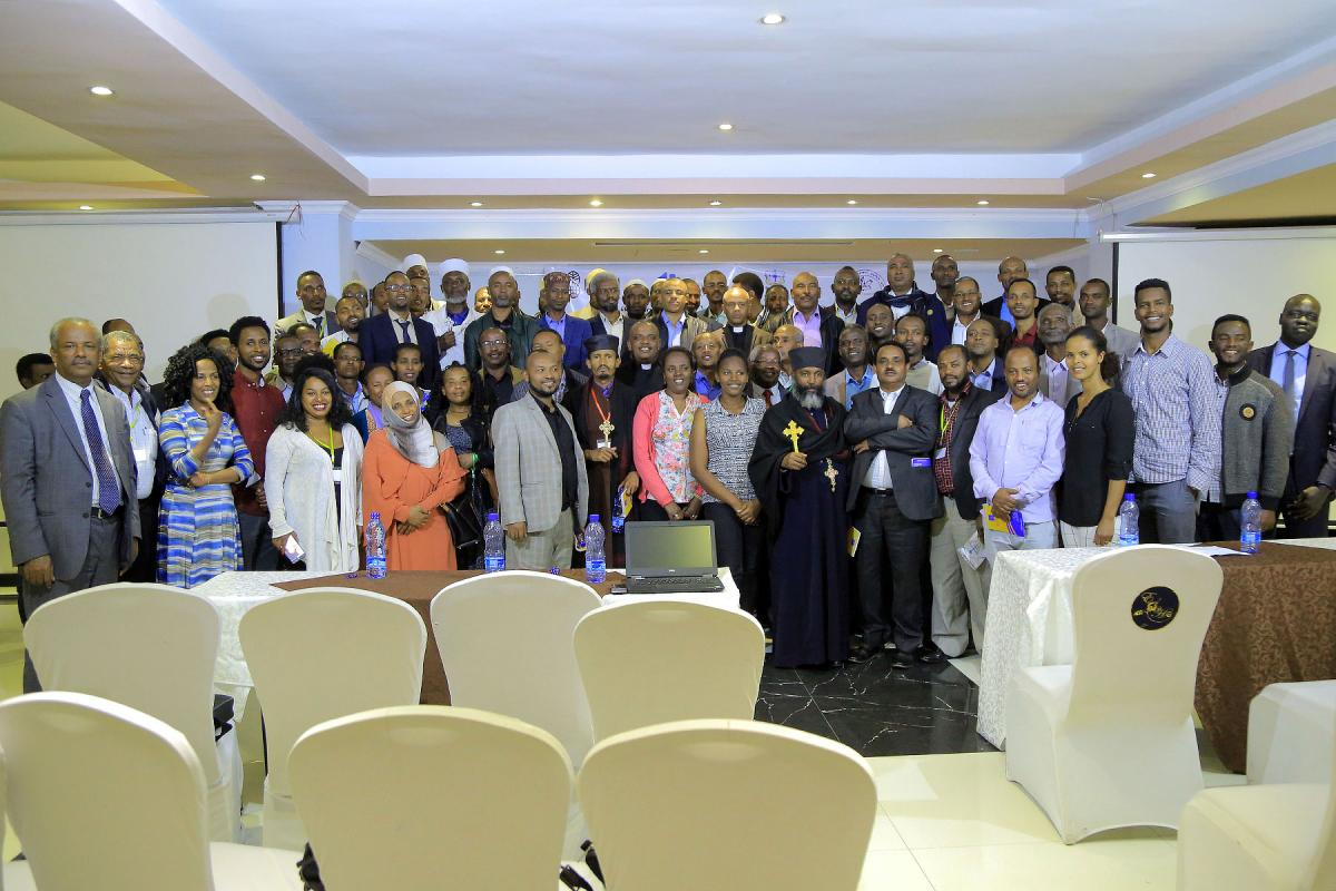 Participants during the October 2018 training of trainers' workshop in Ethiopia's capital Addis Ababa. On the far left, front row, is former EECMY president, Rev. Dr Wakseyoum Idosa, who coordinates the peace project. Photo: EECMY
