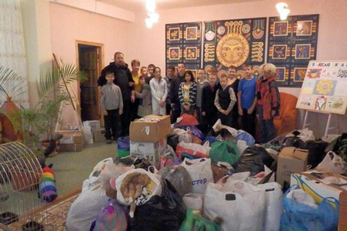 Humanitarian aid is collected for children in Donbas area, one of the worst affected of the Ukraine conflict. Photo: Janka Adameová