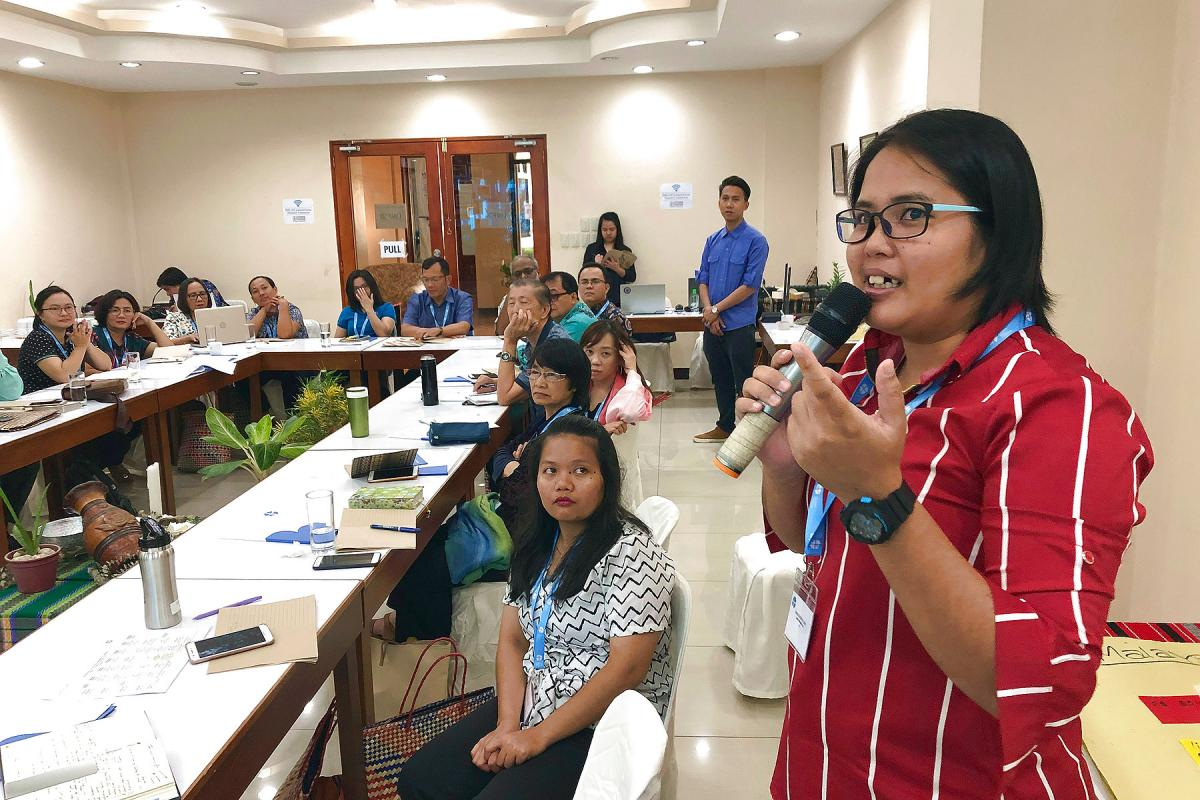 A workshop, hosted by the Lutheran Church in the Philippines, to enhance capacities for diakonia in the South-East Asian region. Jenet Mogimbong, diaconal worker from Malaysia, talks about her church's kindergarten project. Photo: LWF/M. Dölker