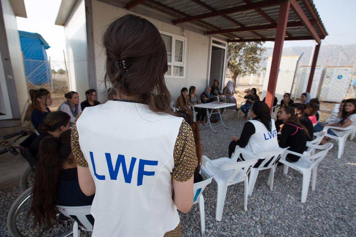 A Women's Awareness session taking place at the Women Friendly Space (WFS) in Daudiya camp for Internally Displaced Persons (IDPs), Amedy District, Duhok Governorate, Kurdistan, Iraq. Photos: LWF/ Elma OKic