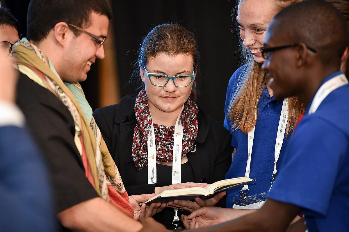 Youth present their pre-Assembly message to the first plenary of the Twelfth Assembly, Namibia, May 2017. Photo: LWF/Albin Hillert