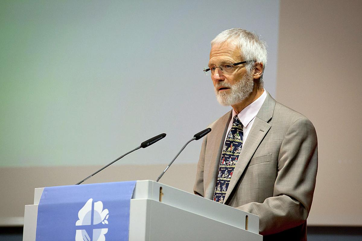 Addressing the June 2016 LWF Council in Wittenberg, Germany, Jean Daniel Plüss, of the Swiss Pentecostal Mission said international dialogue between the LWF and classical Pentecostals provides an opportunity to offer mutual experiences and insights. Photo: LWF/Marko Schoeneberg