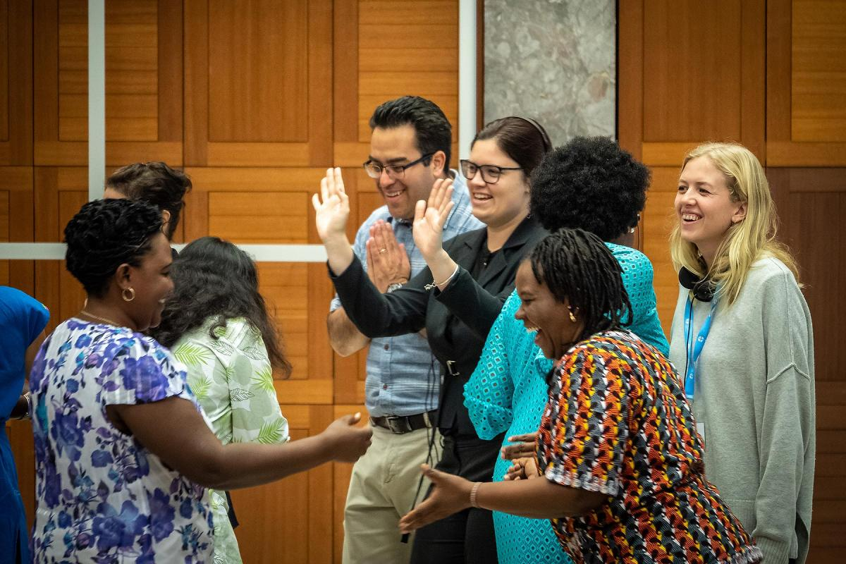 The LWF co-organizes an annual training for faith-based organizations on advocacy for women's human rights, in Geneva. A group of participants in the 2019 event take part in a role-play session on collecting information at community level. Photo: LWF/ S. Gallay