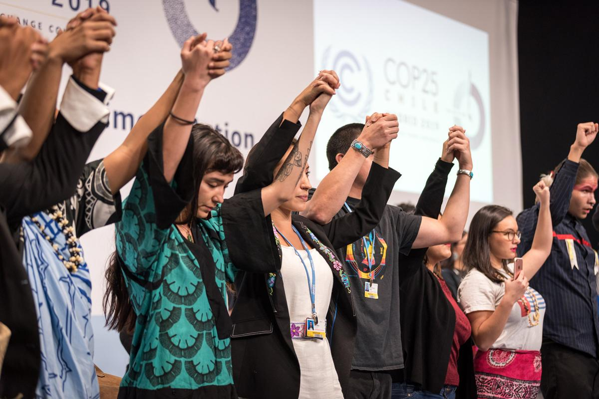 People of faith standing together for climate justice during COP25 in Madrid, Spain. Photo: LWF/Albin Hillert